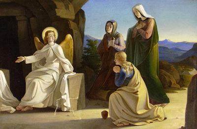 Ange, sépulcre, Résurrection, trois Marie