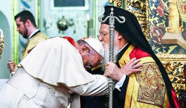 L'antipape François et le schismatique Bartholomée, primat de l'église « orthodoxe » de Constantinople