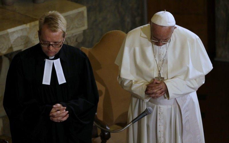 L'antipape François aux côté du luthérien Jens-Martin Kruse