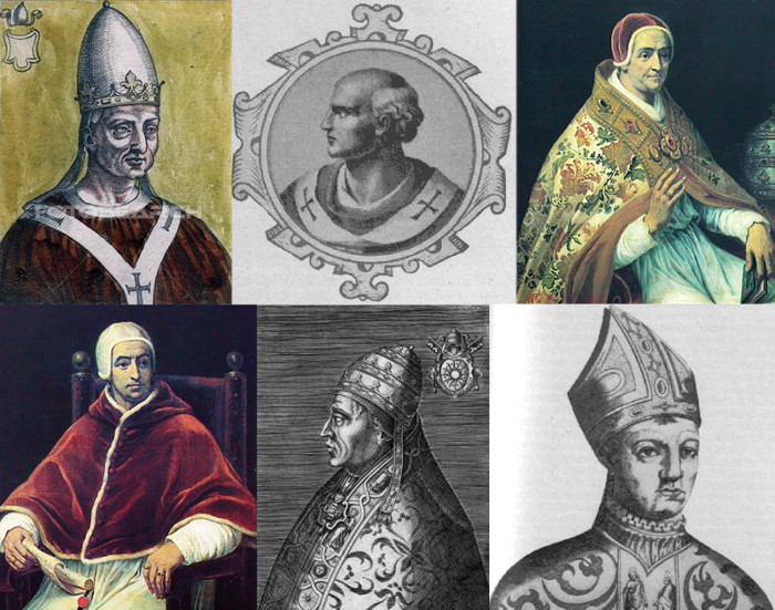 Quelques antipapes dans l'Histoire : Jean XVI (997-999), Benoît X (1058-1059), Clément VII (1378-1394), Benoît XIII (1394-1423), Alexandre V (1409-1410), Jean XXIII (1410-1415)