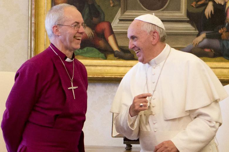 L'antipape François en compagnie du chef schismatique de la secte anglicane, Justin Welby