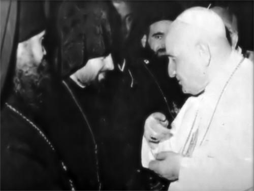 Jean XXIII qui rencontre un schismatique oriental lors de Vatican II