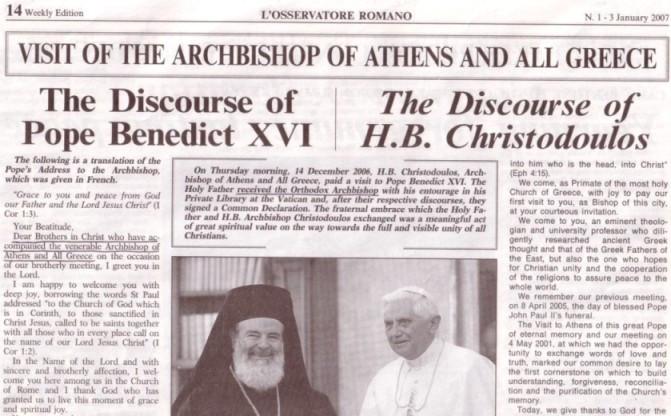 L'Osservatore Romano : Benoît XVI et le schismatique Christodoulos