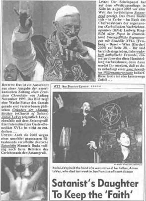 Benoît XVI faisant le signe satanique