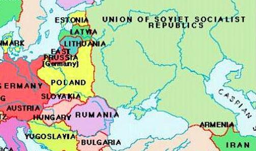 Cette carte de l'Europe orientale avant la seconde Guerre mondiale définit les nations baltes (Estonie, Lettonie, Lituanie) avant qu'elles ne furent anéanties et qu'on les fasse disparaître par pleine absorption dans l'Empire soviétique satanique.