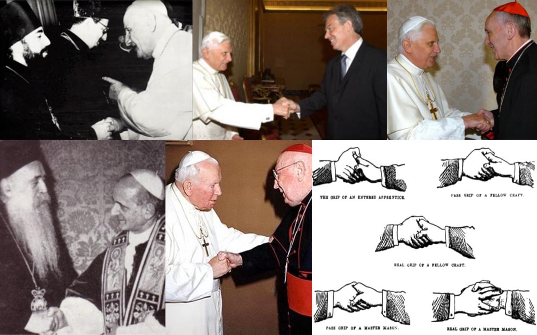 Antipapes de la secte Vatican II donnant des poignées de mains maçonniques