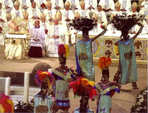 « Messe » de Jean-Paul II incorporant les coutumes de la culture démoniaque aztèque