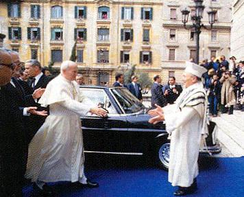 Jean-Paul II arrivant à la synagogue juive; 13 avril 1986