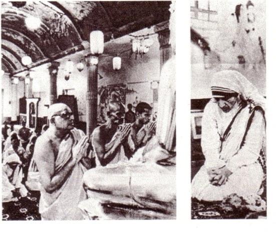 Mère Teresa en train d'adorer Bouddha en 1975