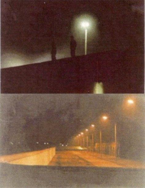(photo du haut) Des gardes sur le Mur de Berlin, prêts à tirer sur celui qui traverserait. (photo du bas) « Le couloir de la mort » éclairé, peint en blanc pour que celui qui le traverserait soit une cible facile et soit abattu.