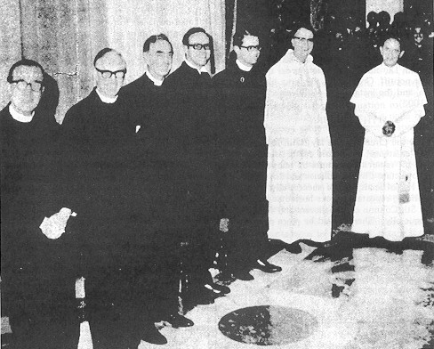 Les six ministres protestants qui aidèrent à la création de la Nouvelle Messe: Drs. George, Jasper, Sheperd, Kunneth, Smith et Thurian