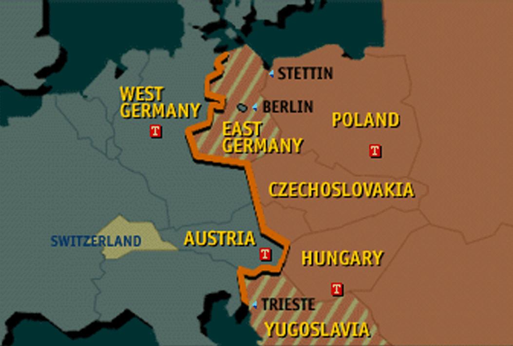 Non représenté ici, l'URSS se trouve à droite de la Pologne (Poland) et de la Tchécoslovaquie (Czechoslovakia), la Roumanie communiste est en bas à droite de la Hongrie (Hungary)