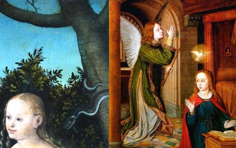 Eva communique avec un ange déchu (le serpent). Mary communique avec un bon ange (Gabriel)