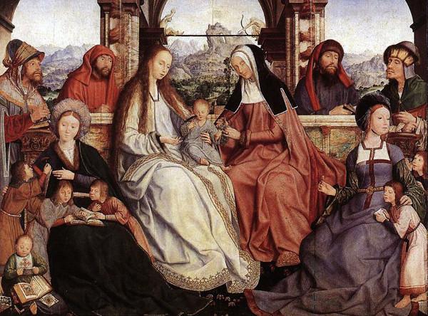 La Vierge Marie, l'enfant Jésus et sainte Anne avec Marie de Cléophas la mère de Jacques le Mineur (à gauche) et Marie Salomé, mère de Jean l'Évangéliste et saint Jacques le Majeur (à droite)