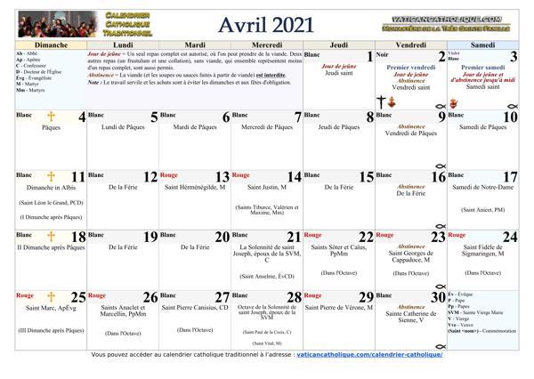 Mois d'avril 2021