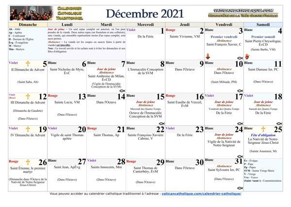 Mois de décembre 2021