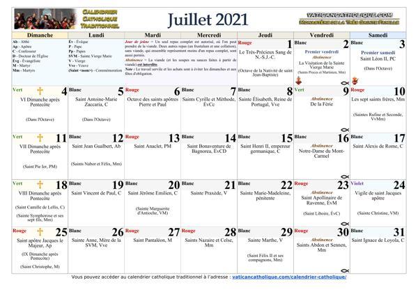 Mois de juillet 2021