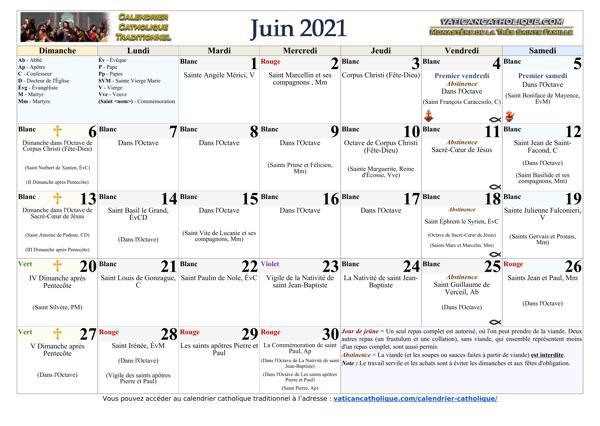 Mois de juin 2021
