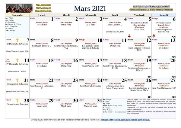 Mois de mars 2021
