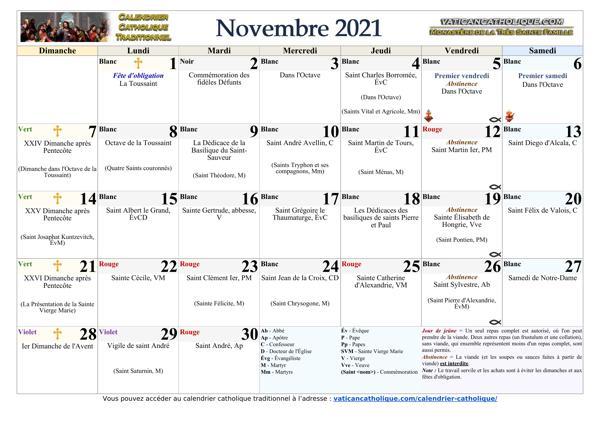 Mois de novembre 2021