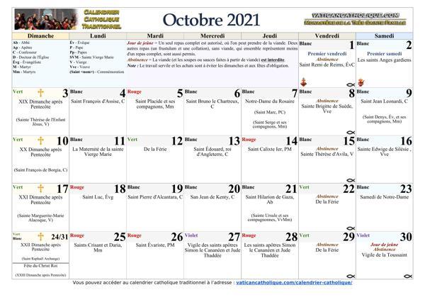 Mois d'octobre 2021