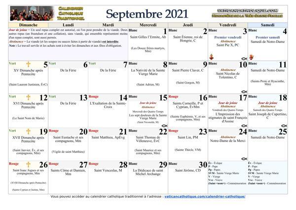 Mois de septembre 2021