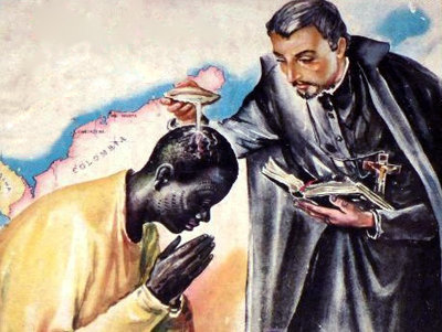 Saint Pierre Claver, Baptême miraculeux d'un esclave