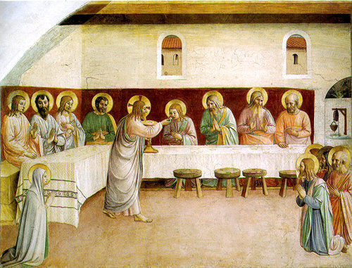 Jésus-Christ donne son Corps et son Sang à ses Apôtres et à Marie