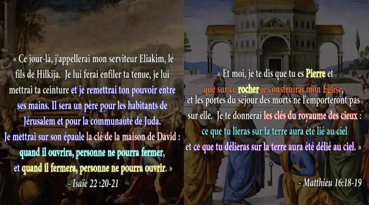 Parallèle Matthieu 16 et Isaïe 22