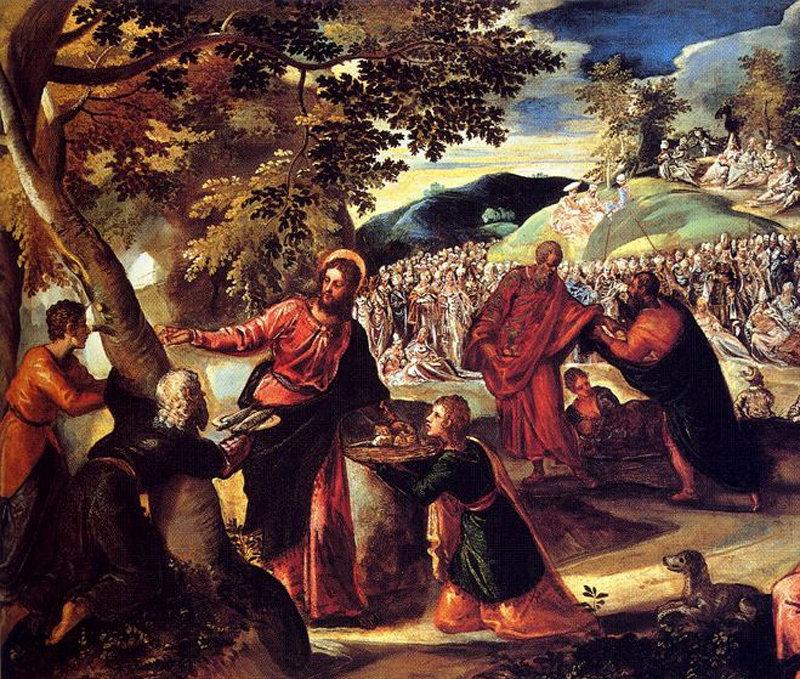 Jésus opérant le miracle de la multiplication des pains et du poisson