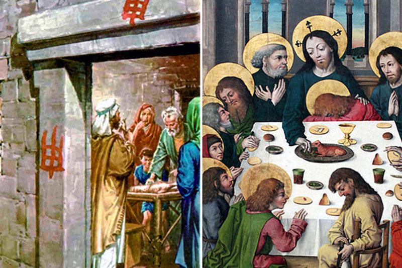 Dans l'Ancien Testament, les Juifs mangent l'agneau pascal que Dieu a commandé (à gauche) et cela symbolise Jésus comme l'Agneau de Dieu que nous devons manger dans l'Eucharistie (à droite)