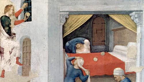 Saint Nicolas de Bari lance de l'argent par la fenêtre