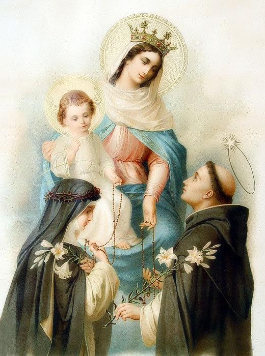 Notre-Dame de Pompéi entourée de Saint Dominique et Sainte Catherine de Sienne